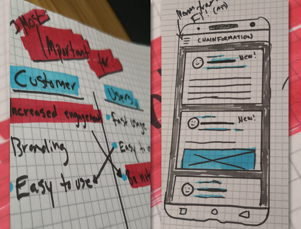 Chainformation companion app early sketch