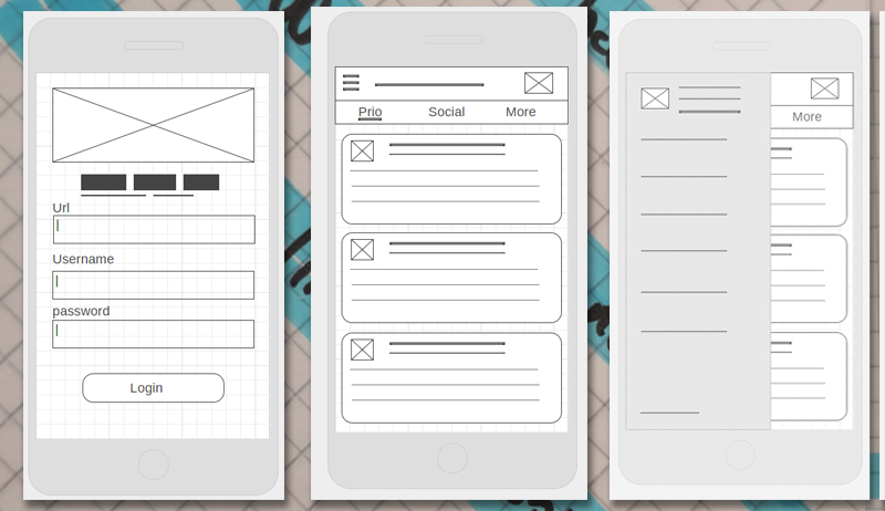 Early login and interface mockups
